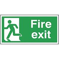Safety Sign Fire Exit Running Man Left 150x300mm Self-Adhesive Vinyl