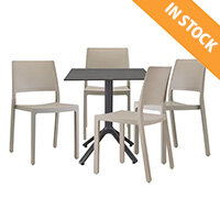 Kate Dining Set Anthracite Table & 4 Dove Grey Chairs - Suitable For Indoor & Outdoor Use
