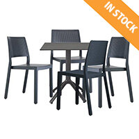 Emi Dining Set Anthracite - Suitable For Indoor & Outdoor Use