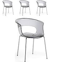 Miss B Antishock Canteen & Breakout Chrome Leg Chair Translucent Smoked Grey Set of 4