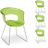 Miss B Antishock Canteen & Breakout Chrome Sled Frame Chair Translucent Lime Green Set of 4