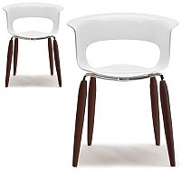Natural Miss B Antishock Canteen & Breakout Chair Glossy White With Steel & Wenge Beech Wood Legs Set of 2