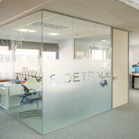 Glass Partitions With Frosted Window Film Company Logo Design: Sidetrade