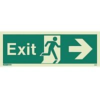 Photoluminescent Exit Sign Exit Arrow Right HxW 200X450mm
