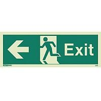 Photoluminescent Exit Sign Exit Arrow Left HxW 200X450mm