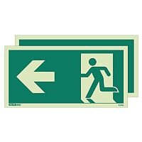 Photoluminescent Double Sided Safety Way Guidance Sign Arrow Left HxW 200X400mm