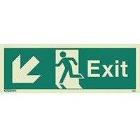 Photoluminescent Exit Sign Exit Arrow Down Left HxW 200X450mm