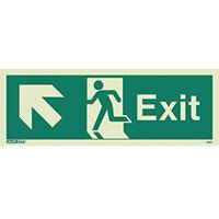 Photoluminescent Exit Sign Exit Arrow Up Left HxW 150X400mm