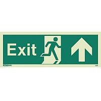 Photoluminescent Exit Sign Exit Arrow Up HxW 200X450mm