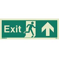 Photoluminescent Exit Sign Exit Arrow Up HxW 150X400mm