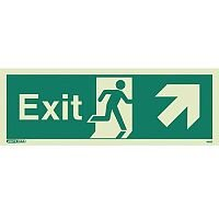 Photoluminescent Exit Sign Exit Arrow Up Right HxW 150X400mm