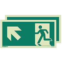 Photoluminescent Double Sided Safety Way Guidance Sign Arrow Up Left HxW 150X300mm