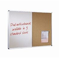 Wall Mounted Aluminium Frame Combination Cork Noticeboard And Whiteboard Unit 1800X1200mm