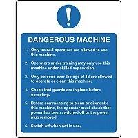 Self Adhesive Vinyl Food Processing And Hygiene Sign Dangerous Machine