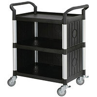 Three Tier Plastic Utility Tray Trolley With Open Sides And Ends With 3 Standard Black Shelves Capacity 250kg