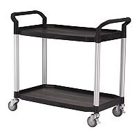 Two Tier Plastic Utility Tray Trolley With Open Sides And Ends With 2 Large Size Shelves Capacity 250kg