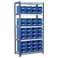Regular Bin Shelving Kit With Blue Bins