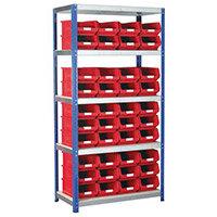 Regular Bin Shelving Kit With Red Bins