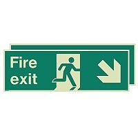 Photoluminescent Double Sided Fire Exit Sign Arrow Down Right HxW 300x900mm
