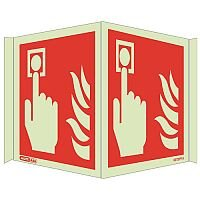 Photoluminescent Fire Alarm Location Sign Panoramic HxW 200x500mm