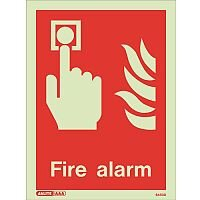 Photoluminescent Fire Alarm Location Sign HxW 200x150mm