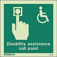 Photoluminescent Disability Assistance Call Point Sign