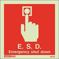 Photoluminescent E.S.D Emergency Shut Down Sign