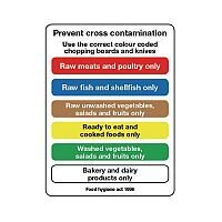 Self Adhesive Vinyl Food Processing And Hygiene Sign Prevent Cross Contamination
