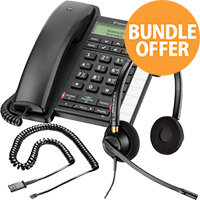 Office Telephone Bundle - BT Converse 2300 - EncorePro HW520 Headset - JPL U10P QD Cable - Desktop Office Phone Kit
