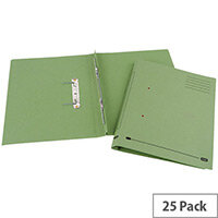 Transfer Spring File Recycled Foolscap Green 35mm Pack 25 Elba Spirosort