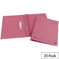 Transfer Spring File Recycled Foolscap Pink 35mm Pack 25 Elba Spirosort