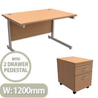 Office Desk Rectangular Silver Legs W1200mm With Mobile 2-Drawer Pedestal Beech Ashford