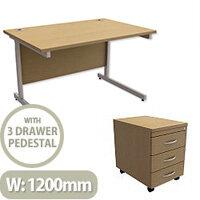 Office Desk Rectangular Silver Legs W1200mm With Mobile 3-Drawer Pedestal Urban Oak Ashford  – Cantilever Desk & Extra Storage , 25 Year Warranty