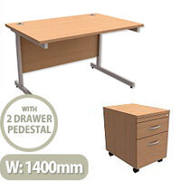 Office Desk Rectangular Silver Legs W1400mm With Mobile 2-Drawer Pedestal Beech Ashford