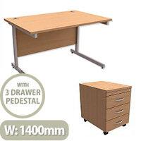 Office Desk Rectangular Silver Legs W1400mm With Mobile 3-Drawer Pedestal Beech Ashford