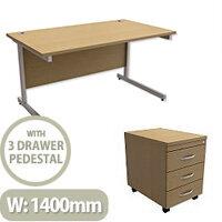 Office Desk Rectangular Silver Legs W1400mm With Mobile 3-Drawer Pedestal Urban Oak Ashford – Cantilever Desk & Extra Storage , 25 Year Warranty