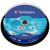 Verbatim CD-R Datalife Non-AZO 80minutes 52X Non-Printable Spindle Pack of 10 43437